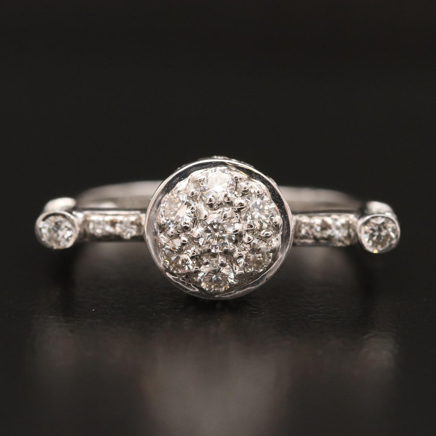 18K Diamond Circular Ring