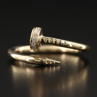 14K Diamond Nail Motif Bypass Ring