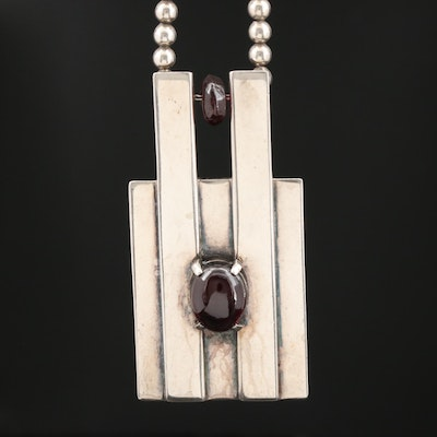 "1970s Monet ""Ciani"" Sterling Silver Garnet Necklace"
