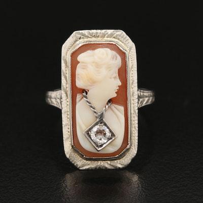 Art Deco 14K Diamond and Shell Habillé Cameo Ring