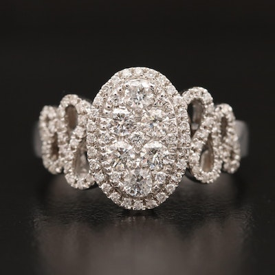 18K Diamond Heart Motif Ring