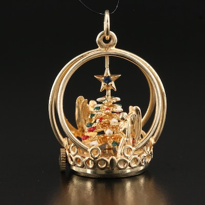 14K Sapphire Christmas Themed Articulated Pendant
