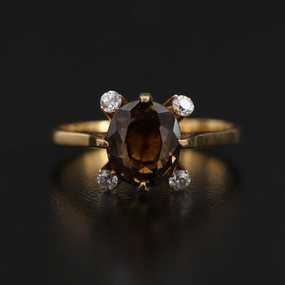 10K Sphene Ring with Cubic Zirconia Accents