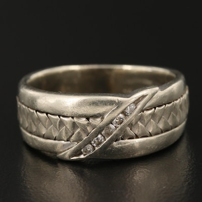 14K Diamond Weave Band