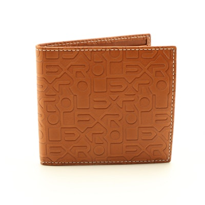 Rolex Embossed Tan Leather Bifold Wallet with Contrast Stitching