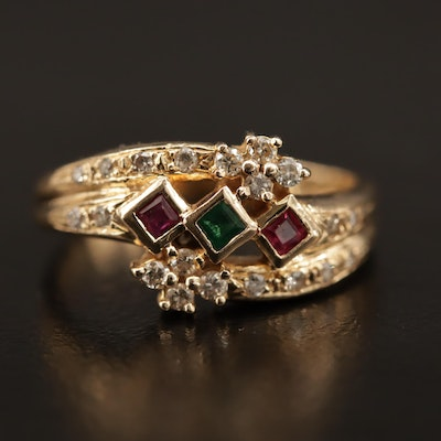 14K Ruby, Emerald and Diamond Ring with Bypass Design