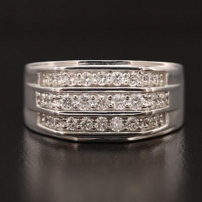14K Diamond Triple Row Ring