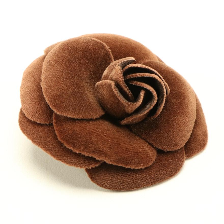 Chanel Velveteen Camelia Flower Brooch