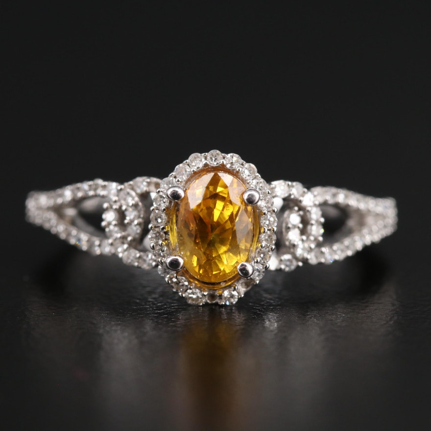 14K Yellow Sapphire and Diamond Ring with Twisted Shoulders