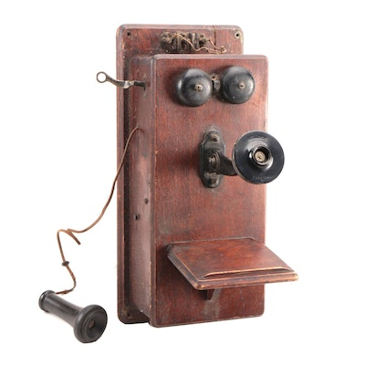 Stromberg-Carlson Oak Hand-Crank Wall Telephone, Late 19th- Early 20th Century