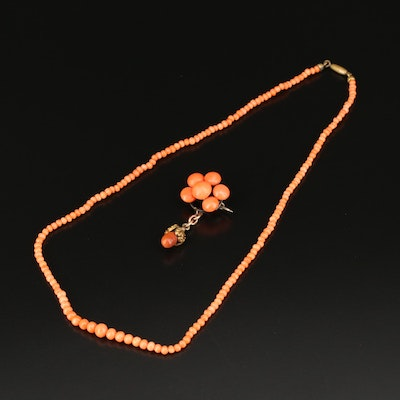 Victorian Graduated Coral Necklace and Pin Set