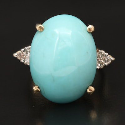 Vintage Le Vian 14K Turquoise and Diamond Ring