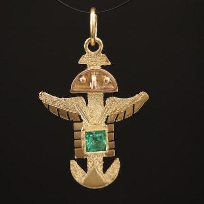 18K Emerald Mesoamerican Thunderbird Pendant