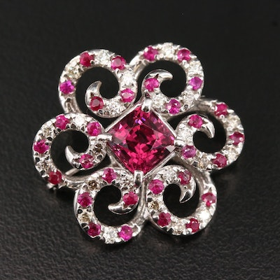 14K Rhodolite Garnet, Ruby and Diamond Brooch