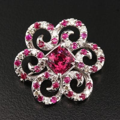 14K Rhodolite Garnet, Ruby and Diamond Brooch