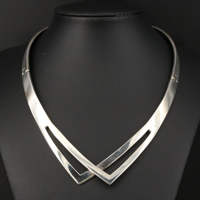 Modernist Taxco Sterling Silver Chevron Collar
