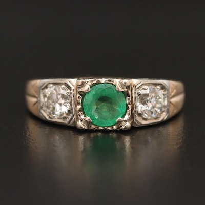 Antique 10K Emerald and Diamond Openwork Ring