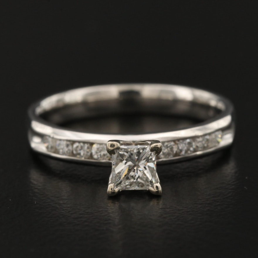 Platinum Diamond Cathedral and Channel Ring