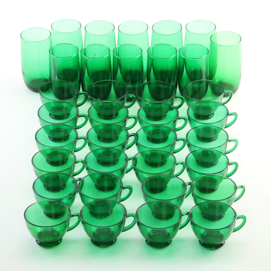 Emerald Green Glass Tumblers and Punch Cups, Early to Mid 20th Century