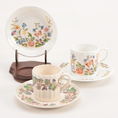 "Aynsley ""Cottage Garden"" and Spode ""Monticello Vine"" Teacups and Saucers"