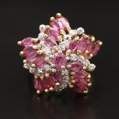 14K Ruby and Diamond  Spiral Star Cluster Ring