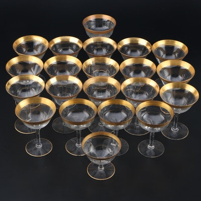 Glass Sherbets/Champagne Coupes with Floral Gilt Rims, Early to Mid 20th Century