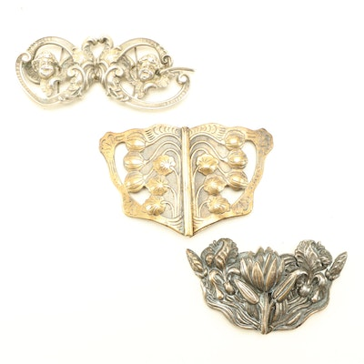 Art Nouveau Style Floral Belt Buckles Including Sterling Silver