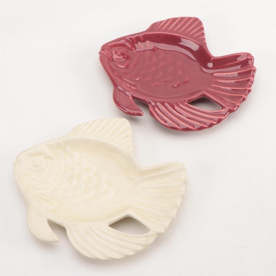 Rookwood Pottery Glazed Ceramic Fish Trays, Mid-20th Century