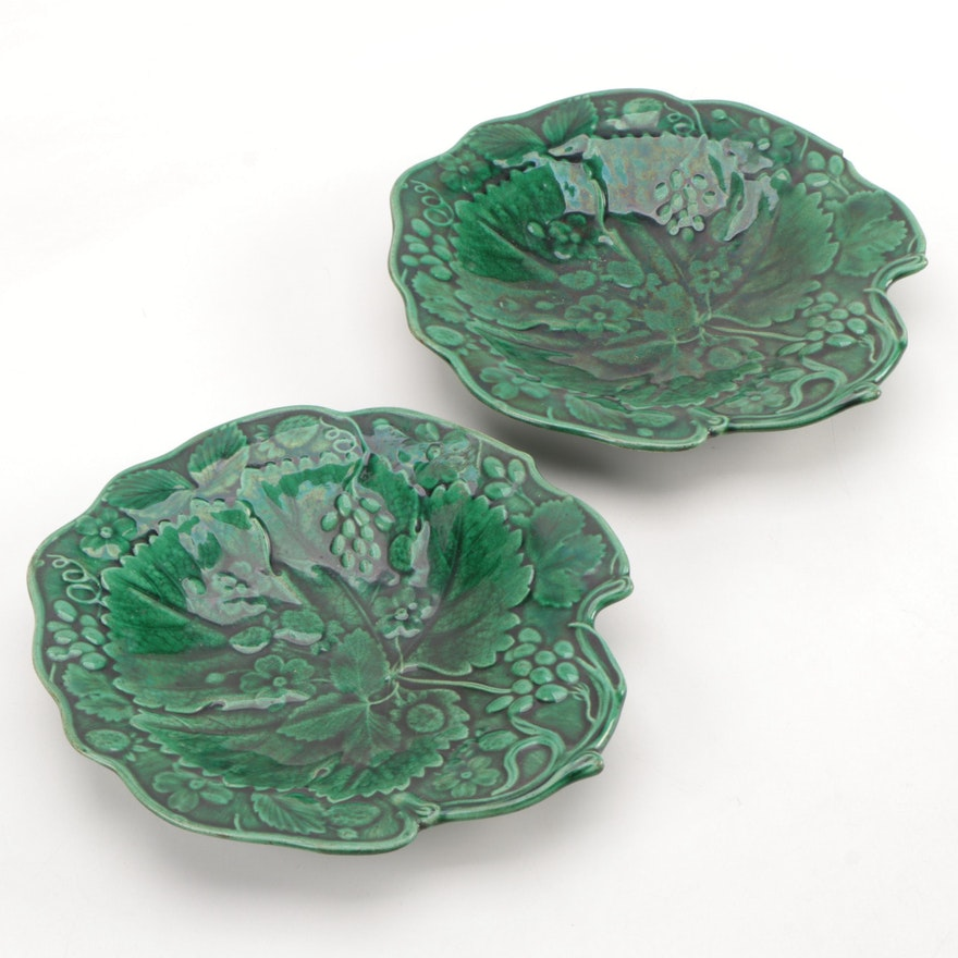 Emerald Green Floral Majolica Plates