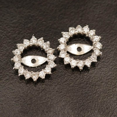 14K Diamond Halo Earring Jackets