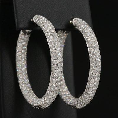 18K 12.15 CTW Pavé Diamond Inside-Out Hoop Earrings