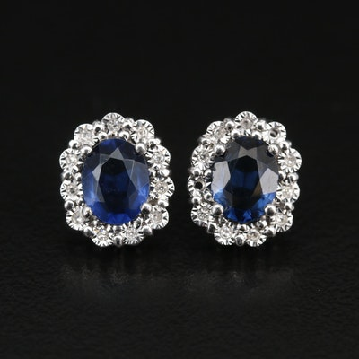 14K Faceted Glass Earrings with Diamond Halos