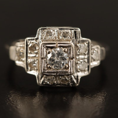 Art Deco 10K Diamond Ring
