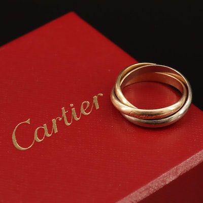 """Cartier """"Trinity"""" 18K Tri-Color Rolling Ring"""