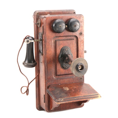 Kellogg Hand-Crank Oak Wall Mount Telephone with Receiver, Early 20th-Century