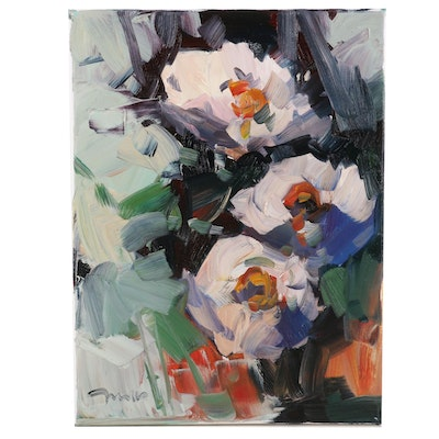 "Jose Trujillo Oil Painting ""Gardenias"", 2020"