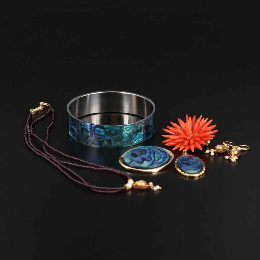 Assortment of Jewelry Featuring Mughal Style Necklace and Earrings
