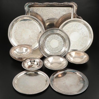 Wm. Rogers, Oneida, and Other Silver Plate Serveware and Trays