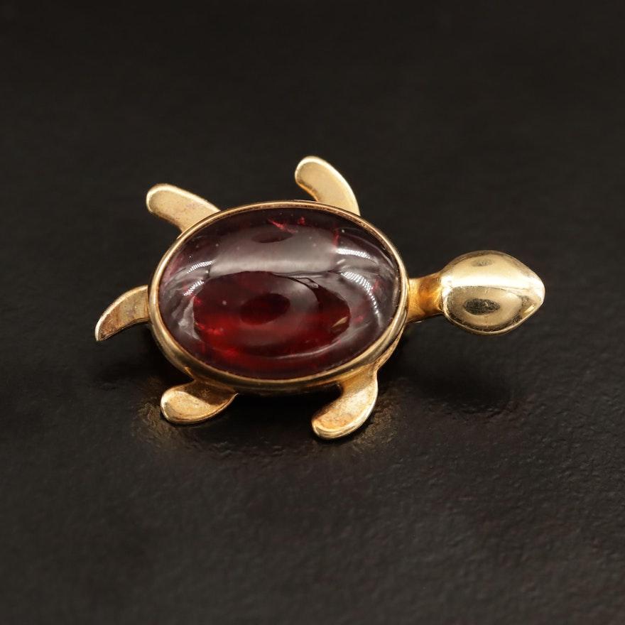 Vintage 14K Garnet Turtle Brooch