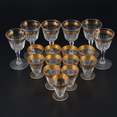 Cordials and Aperitif Glasses with Gilt Rims, Early to Mid 20th Century