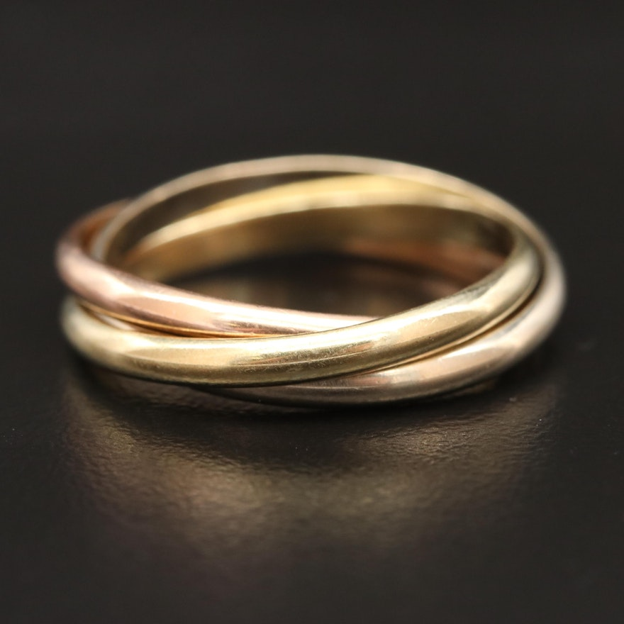 14K Tri-Color Rolling Ring
