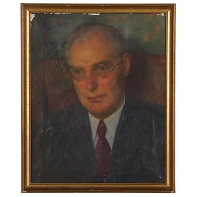 Oil Painting Portrait of Man in Suit and Glasses