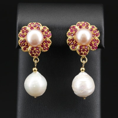 Sterling Pearl and Ruby Drop Earrings
