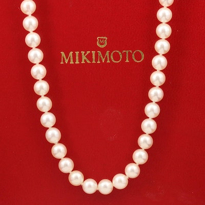 Mikimoto Hand Knotted Pearl Necklace with 18K Clasp