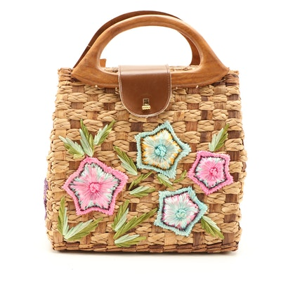 Whidby Bags Woven Reed and Seagrass Handbag with Dyed Raffia Floral Accents