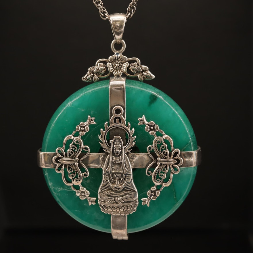 Sterling Silver Jadeite Pendant Necklace with Guanyin Motif
