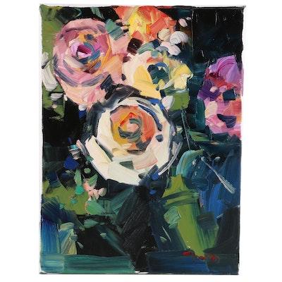 "Jose Trujillo Oil Painting ""The Rose Garden"", 2020"