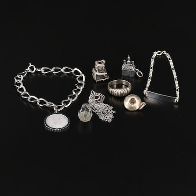 Assorted Jewelry Collection Featuring Charm Bracelet and Charms