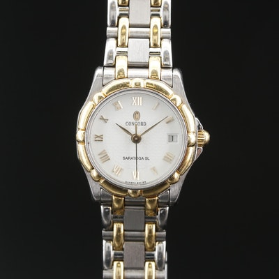 18K and Stainless Steel Concord Saratoga SL Quartz Wristwatch