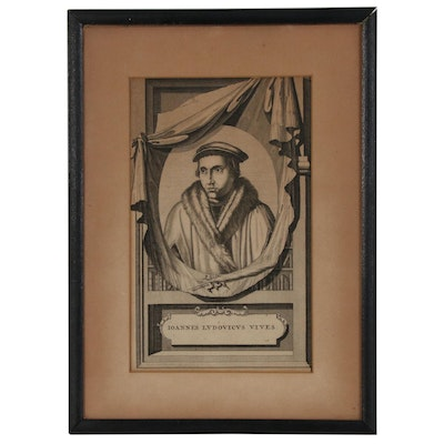 """Portrait Engraving of """"Johannes Ludovicus Vives"""", Late 18th/Early 19th Century"""
